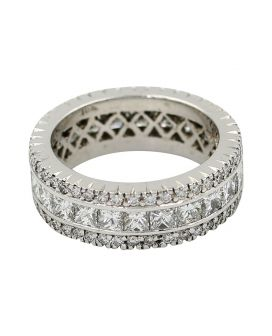 18kt White Gold Princess and Round Diamond Wide Band 3.70 c.t.w.