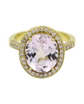 18kt Yellow Gold Diamond Kunzite Ring .93 c.t.w.