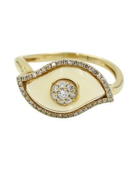 "14kt Yellow Gold ""Evil Eye"" Diamond and Citrine Ring .43 C.T.W"