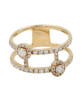 14KT Rose Gold Diamond Wide Open Ring .73 C.T.W
