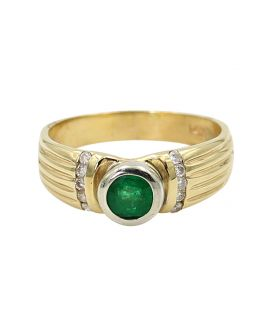 14kt Two Tone Gold Diamonds with Round Emerald Ring .15 c.t.w.