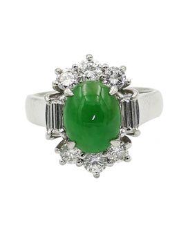 Platinum Diamond and Jade Ring 1.06 c.t.w.