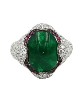 18kt White Gold Pave Diamond and Emerald Ring 3.60 C.T.W