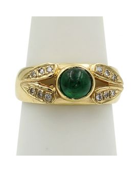 14kt Yellow Gold Diamond Round Cabachon Emerald Ring 0.15 c.t.w.