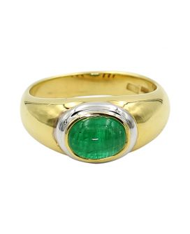 Gregg Ruth 18kt Two Tone Gold Cabochon Oval Emerald Ring