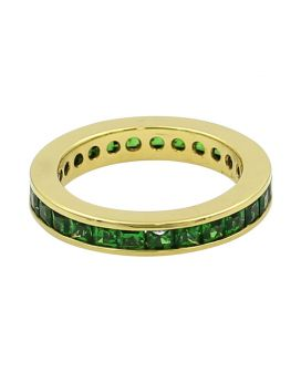 18Kt Yellow Gold Princess Cut Tsavorite Eternity Wedding Band