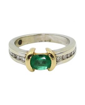 14kt Two Tone Gold Channel Set Diamonds and Oval Emerald Ring(.35 c.t.w.