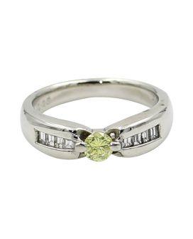 Platinum Yellow and White Diamond Ring .47 c.t.w.