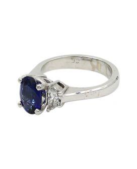 18kt White Gold Diamond Sapphire Ring .52 c.t.w.