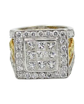 Platinum and 18kt Yellow Gold White and Yellow Diamond Ring 5.90 c.t.w.