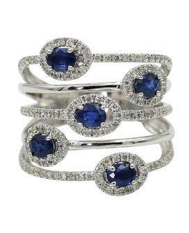 14kt White Gold Diamond and Sapphire Ring .70 c.t.w.