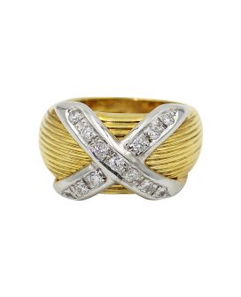 Gregg Ruth 18kt Two Tone Gold Diamond Ring 0.39 C.T.W