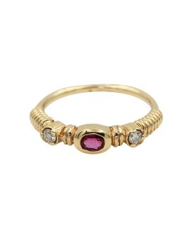 14kt Rose Gold Diamond and Ruby Stackable Ring .10 c.t.w.