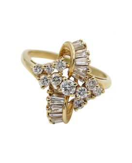 14kt Yellow Gold Baguette and Round Diamond Ring .50 c.t.w.
