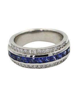 Platinum Milgrain Diamond And Princess Cut Sapphire Wedding Band .50 C.T.W.