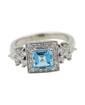 14kt White Gold Diamond and Blue Topaz Ring .88 c.t.w.