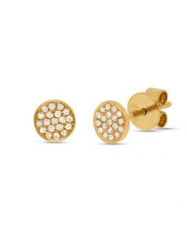 Shy Creation 14k Yellow Gold Diamond Pave Stud Earring .07 c.t.w.