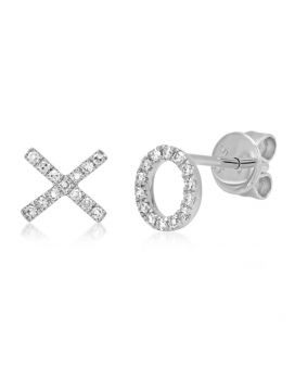 "14k White Gold Diamond ""XO"" Stud Earring .09 c.t.w."