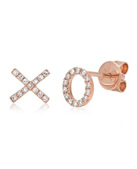 "14k Rose Gold Diamond ""XO"" Stud Earring .09 c.t.w."