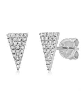 14k White Gold Diamond Pave Triangle Stud Earring .12 c.t.w.
