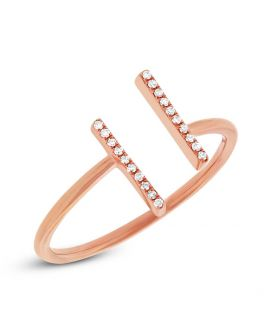 14k Rose Gold Diamond Open Ring .06 c.t.w.