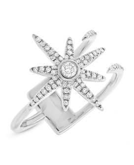 14k White Gold Diamond Star Ring .26 c.t.w.
