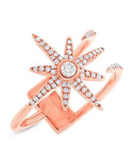 14k Rose Gold Diamond Star Ring .26 c.t.w.