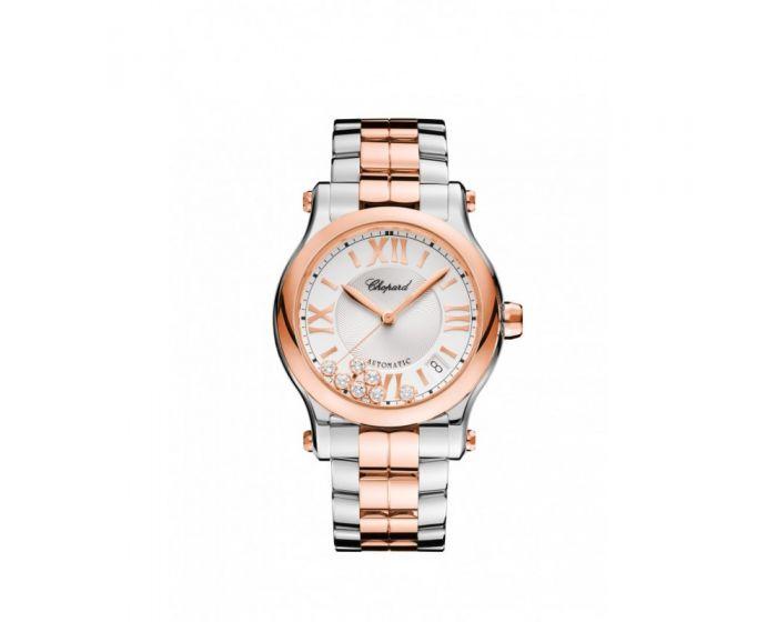 Chopard 18-Karat Rose Gold, Stainless Steel And Diamonds Happy Sport Medium Automatic Watch 278559-6002