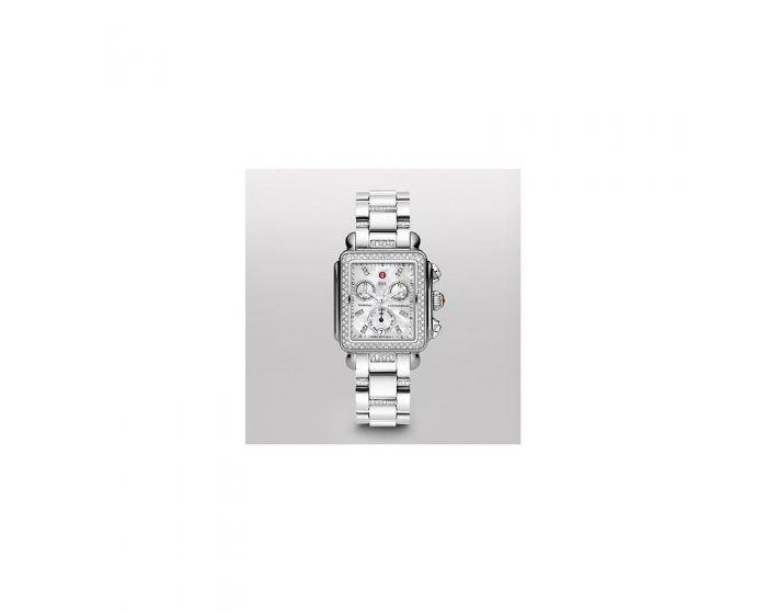 Michele Signature Deco Diamond, Diamond Dial 3-Link Diamond Bracelet Watch Mww06P000103