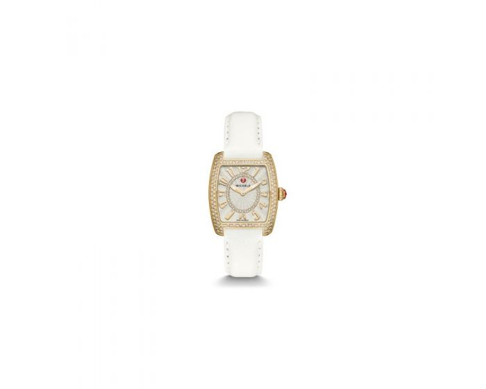 Michele Urban Mini Diamond Gold, Diamond Dial White Leather Watch   Mww02A000607