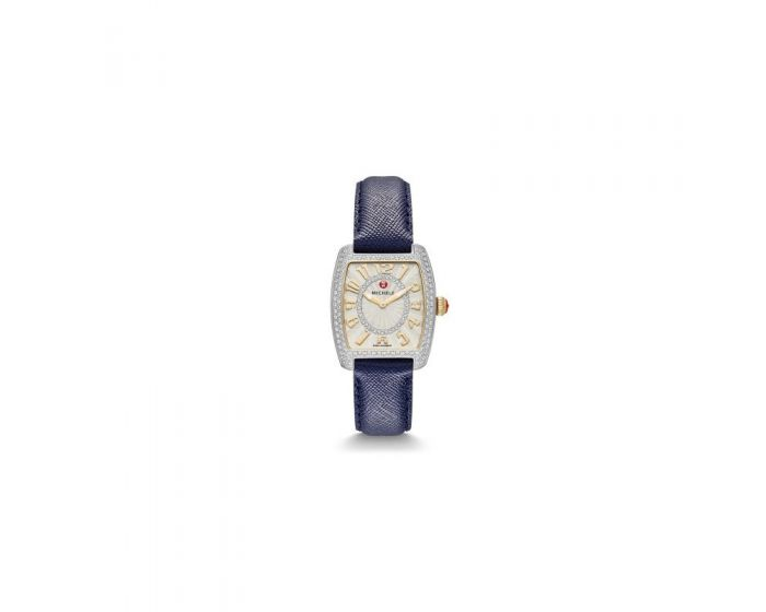Michele Urban Mini Diamond Two-Tone, Diamond Dial Navy Saffiano Watch   Mww02A000605