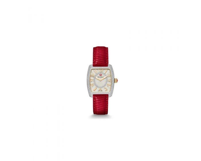 Michele Urban Mini Diamond Two-Tone, Diamond Dial Wine Lizard Watch   Mww02A000600