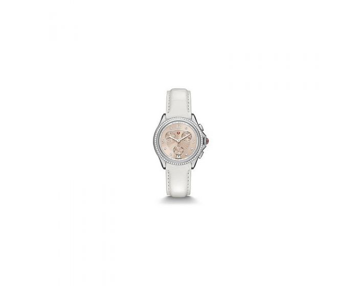 Michele Belmore Chrono Diamond, Beige Diamond Dial White Alligator Watch   Mww29B000014
