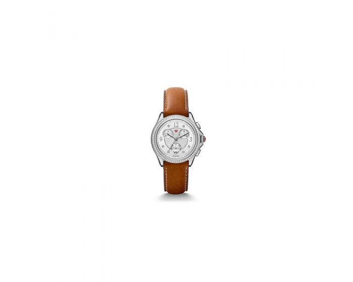Michele Belmore Chrono Diamond, Diamond Dial Saddle Calfskin Watch   Mww29B000002