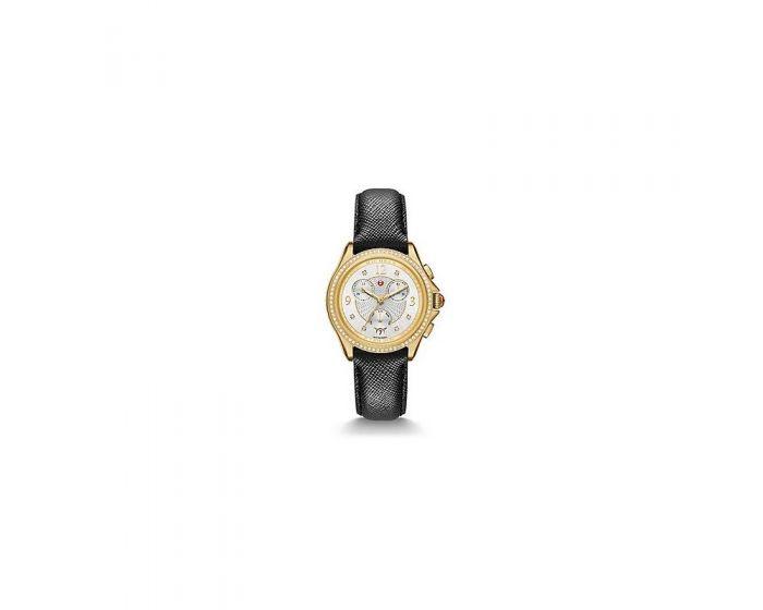 Michele Belmore Chrono Diamond Gold, Diamond Dial Black Leather Watch   Mww29B000011