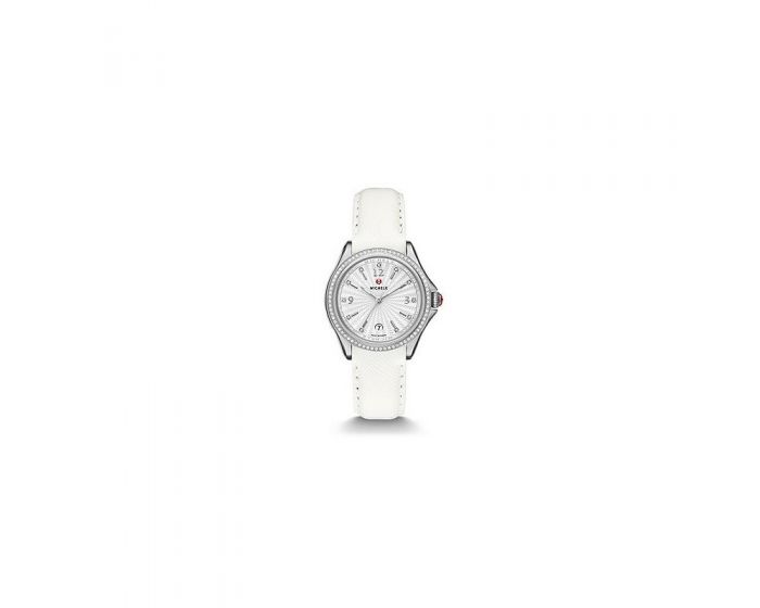 Michele Belmore Diamond, Diamond Dial White Leather Watch   Mww29A000006