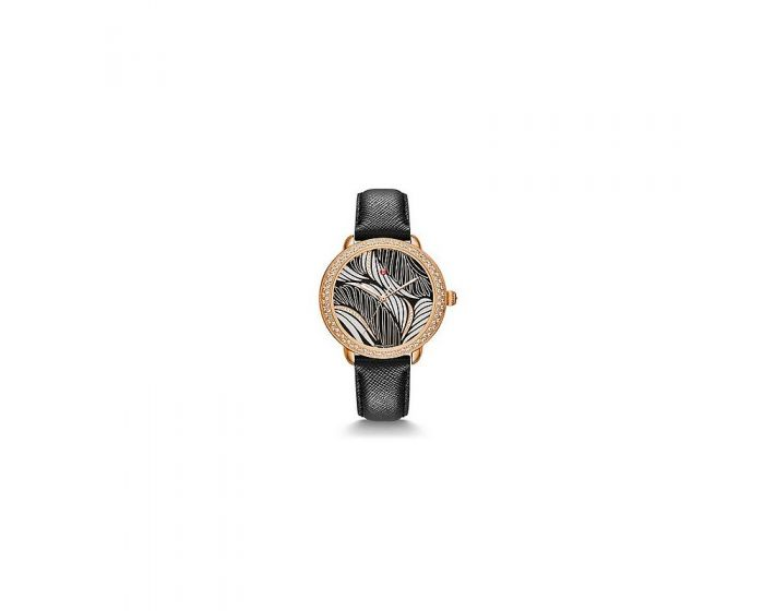 Michele Serein Mid Diamond Rose Gold, Willow Diamond Dial Black Saffiano Watch   Mww21B000110