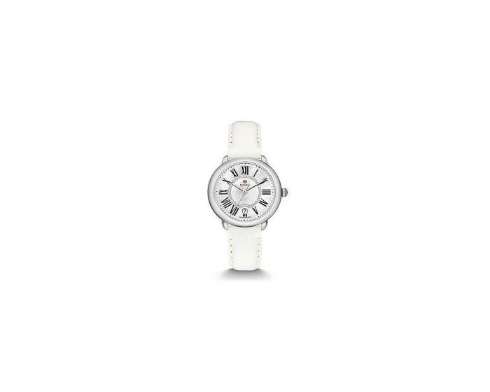 Michele Serein Mid, Diamond Dial Bright White Leather Watch   Mww21B000054