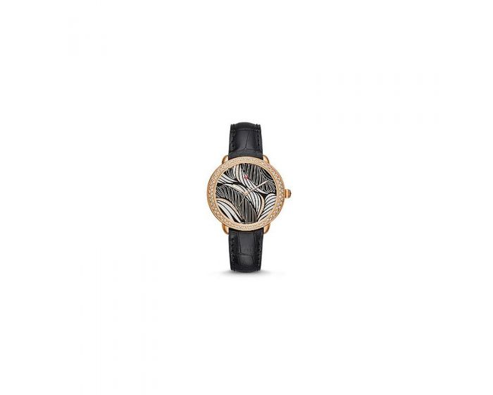 Michele Serein Mid Diamond Rose Gold, Willow Diamond Dial Black Alligator Watch   Mww21B000092