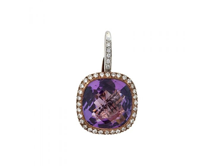 18kt Two Tone Gold Diamond and Amethyst Earrings (.36 ct. tw.)