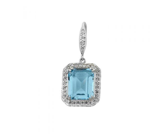 18kt White Gold Diamond and Blue Topaz Earrings (.95 ct. tw.)
