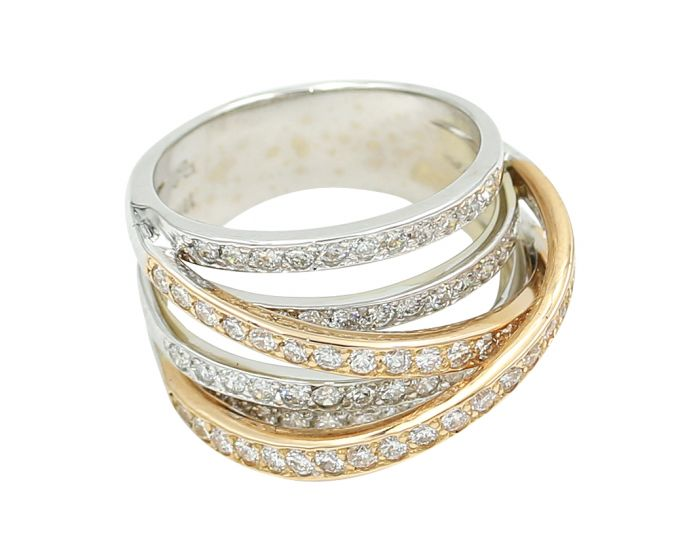 18kt  Two Tone Gold Diamond Wide Band 1.55 c.t.w.