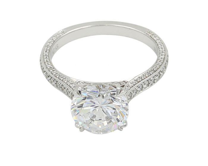 18kt White Gold C Gonshor Diamond Setting  0.65 C.T.W