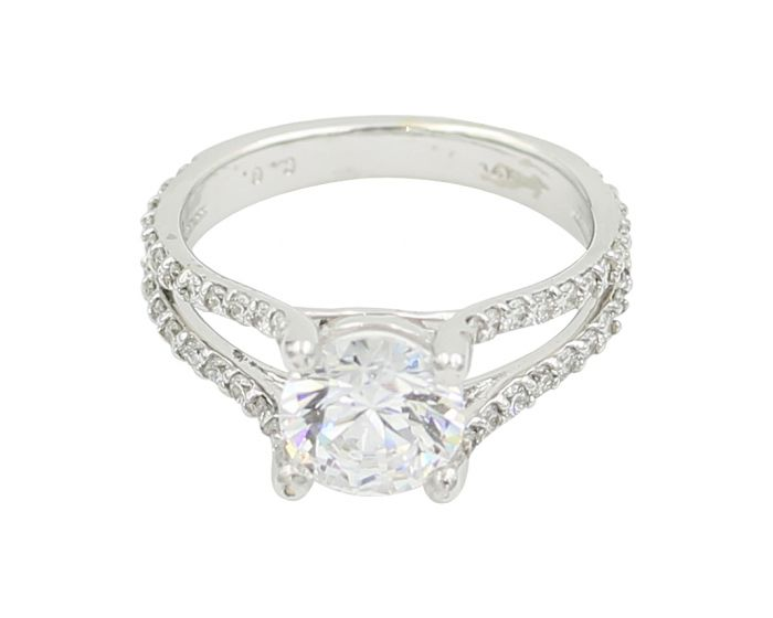 14kt White Gold Diamond Split Shank Engagement Setting .56 c.t.w.