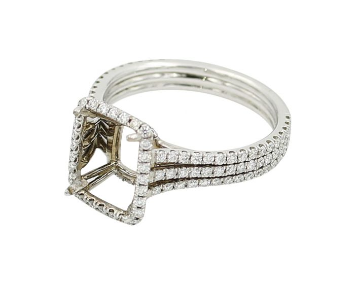 18kt White Gold Emerald Cut Diamond Engagement Setting .71 C.T.W.