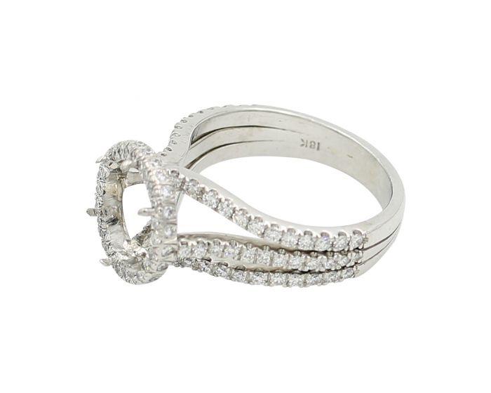 18kt White Gold Triple Shank Diamond Engagement Setting 1.20 c.t.w.