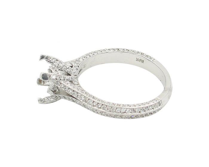 18Kt White Gold Milgrain Diamond Sidestone Setting 0.65 C.T.W.