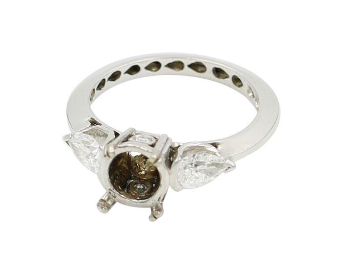 18kt White Gold Three Stone Diamond Engagement Setting 0 .71 C.T.W
