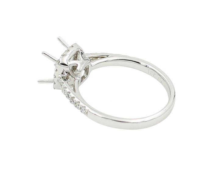 18kt White Gold Diamond Cushion Halo Engagement Setting 0.37 C.T.W