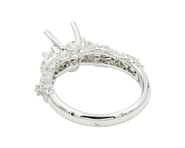 18Kt White Gold Diamond Three Stone Setting .56 C.T.W.